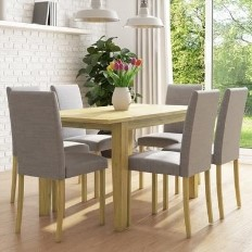 24b84cb1a400 New Haven Oak Extendable Dining Set with 6 Grey Fabric Dining Chairs