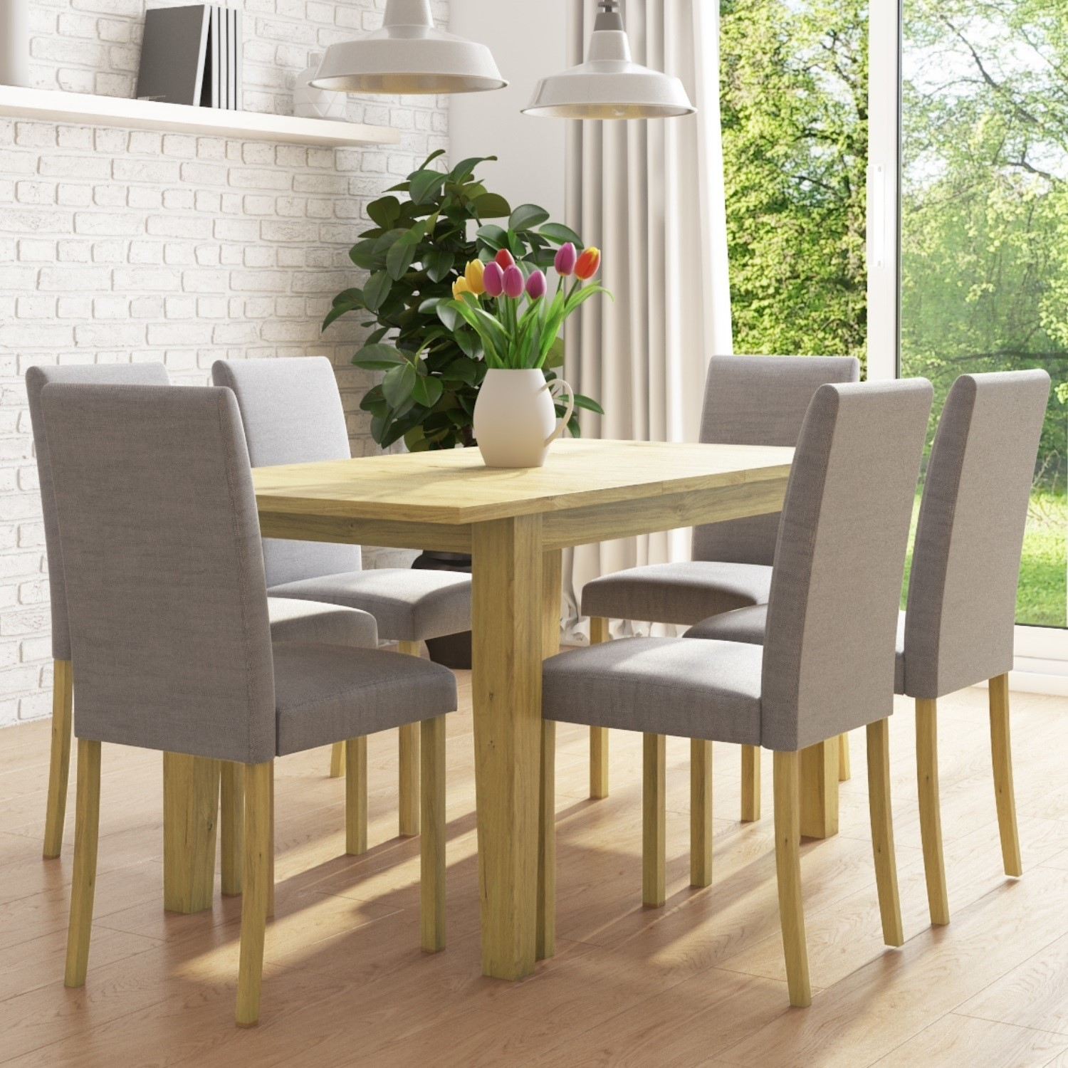 New Haven Oak Extendable Dining Set With 6 Grey Fabric Dining Chairs