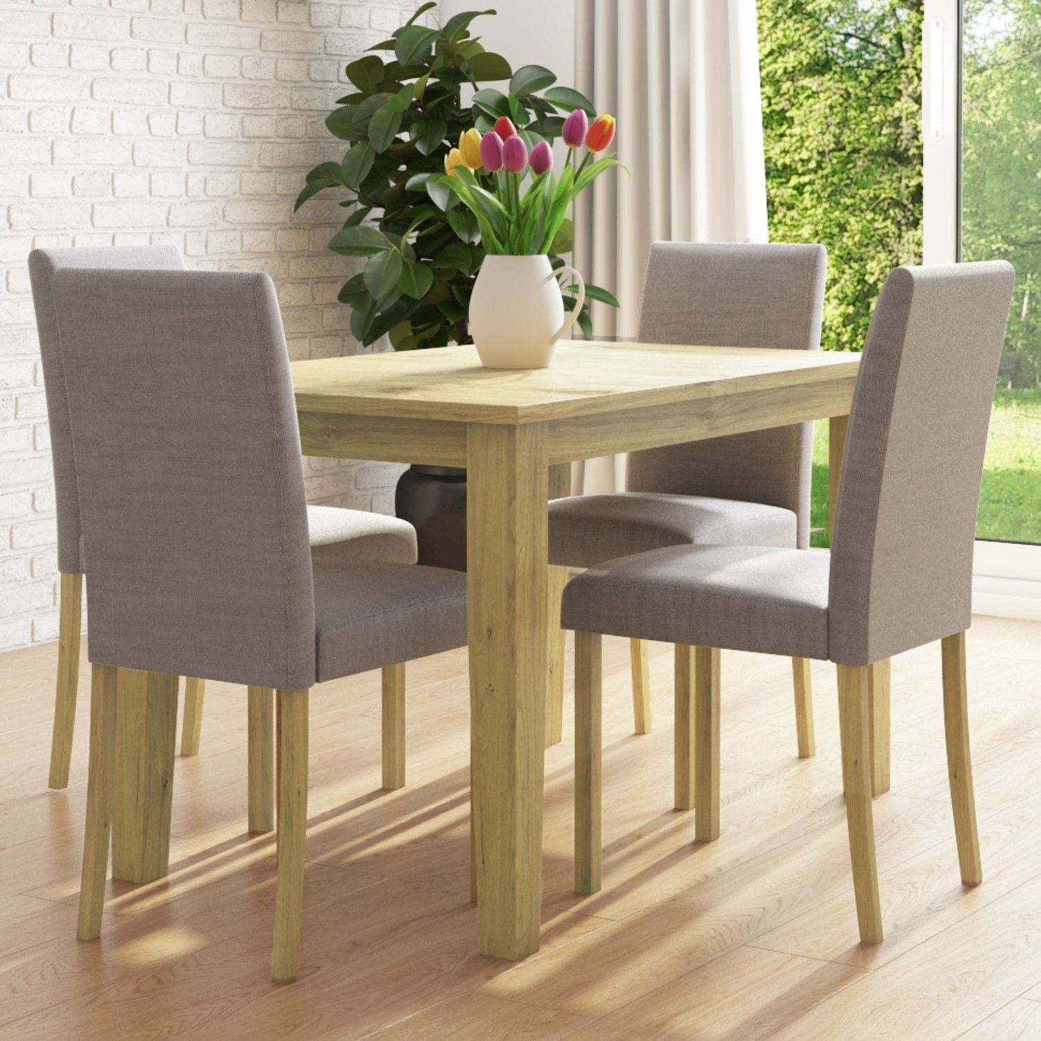 New Haven Oak Extendable Dining Set With 4 Grey Fabric Dining Chairs Furniture123