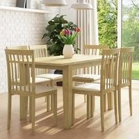 New Haven Set with Oak Extendable Dining Table & 6 Chairs with Cream Seat