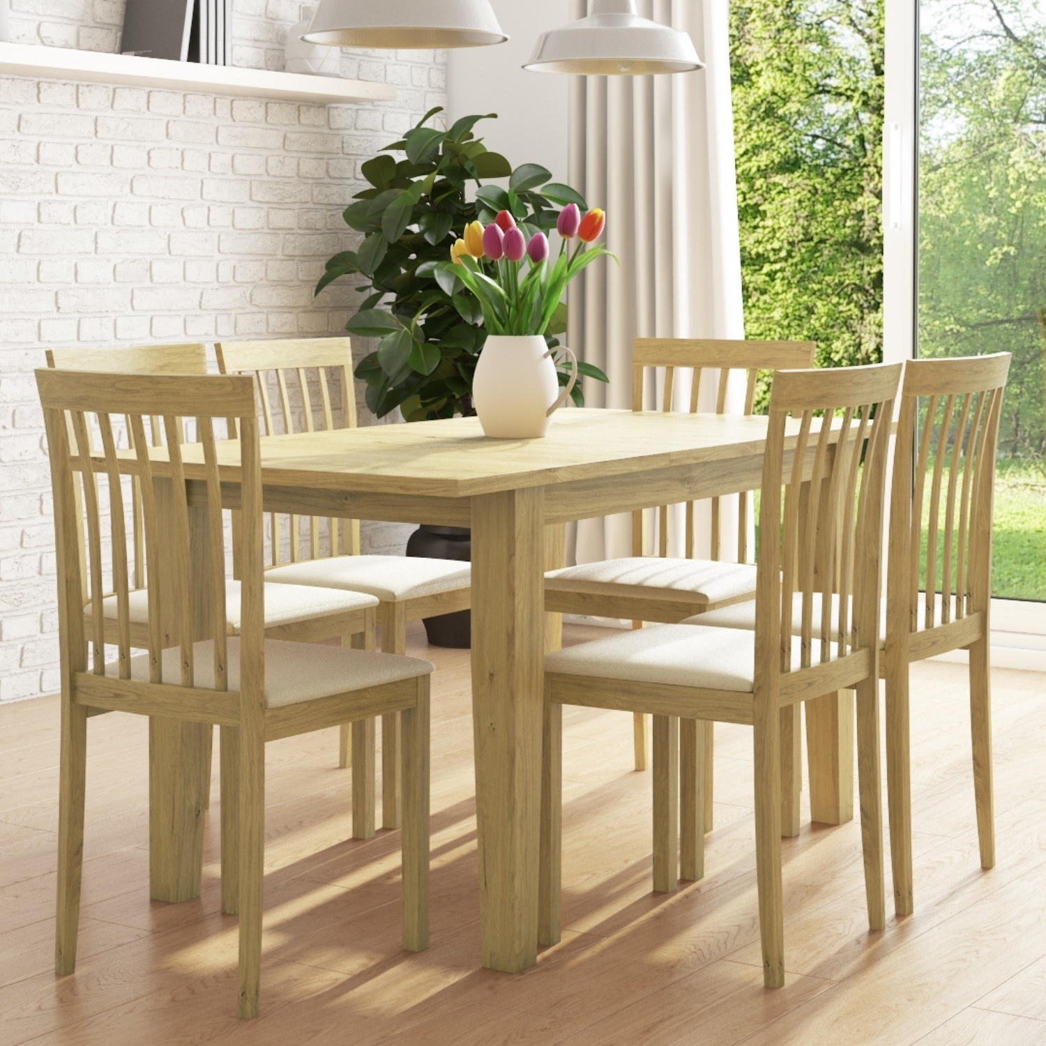 New Haven Set With Oak Extendable Dining Table 6 Chairs With Cream Seat Furniture123