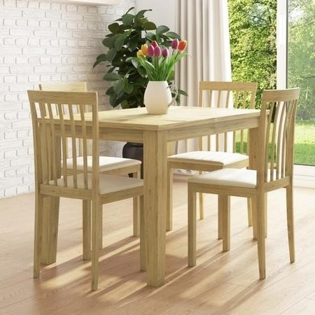 New Haven Oak Extendable Dining Set with 4 Wooden Chairs in Cream Fabric
