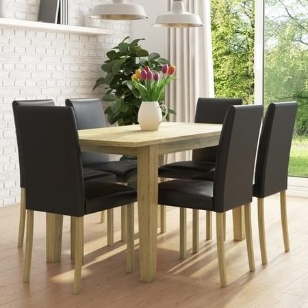 New Haven Oak Extendable Dining Set with 6 Black Leather Dining Chairs