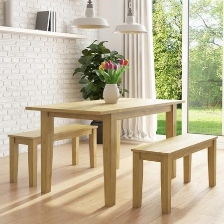 New Haven Oak Extendable Dining Table with 2 Dining Benches in Light Oak