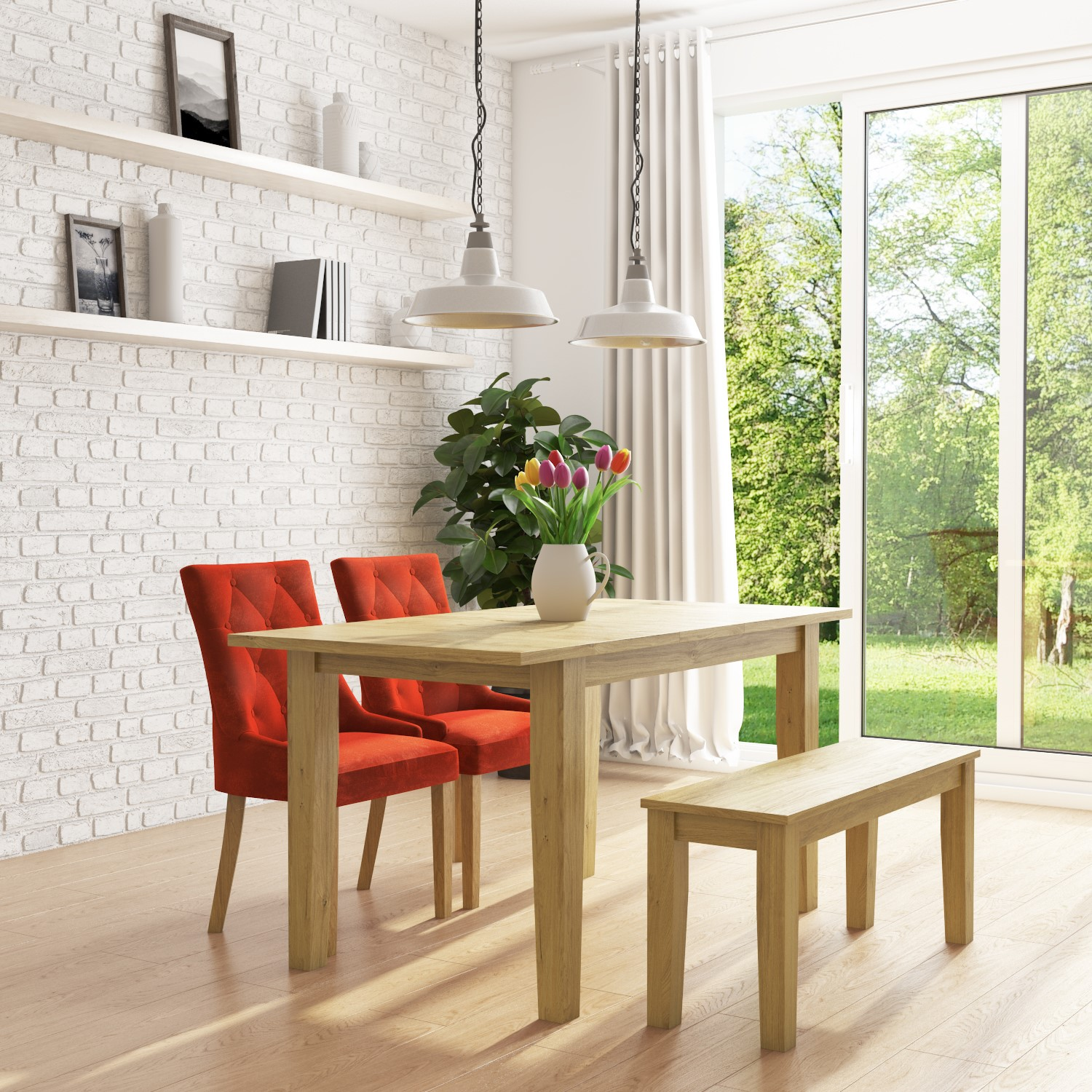 Fine New Haven Oak Extendable Dining Set With 2 Orange Velvet Dining Chairs And Dining Bench Andrewgaddart Wooden Chair Designs For Living Room Andrewgaddartcom