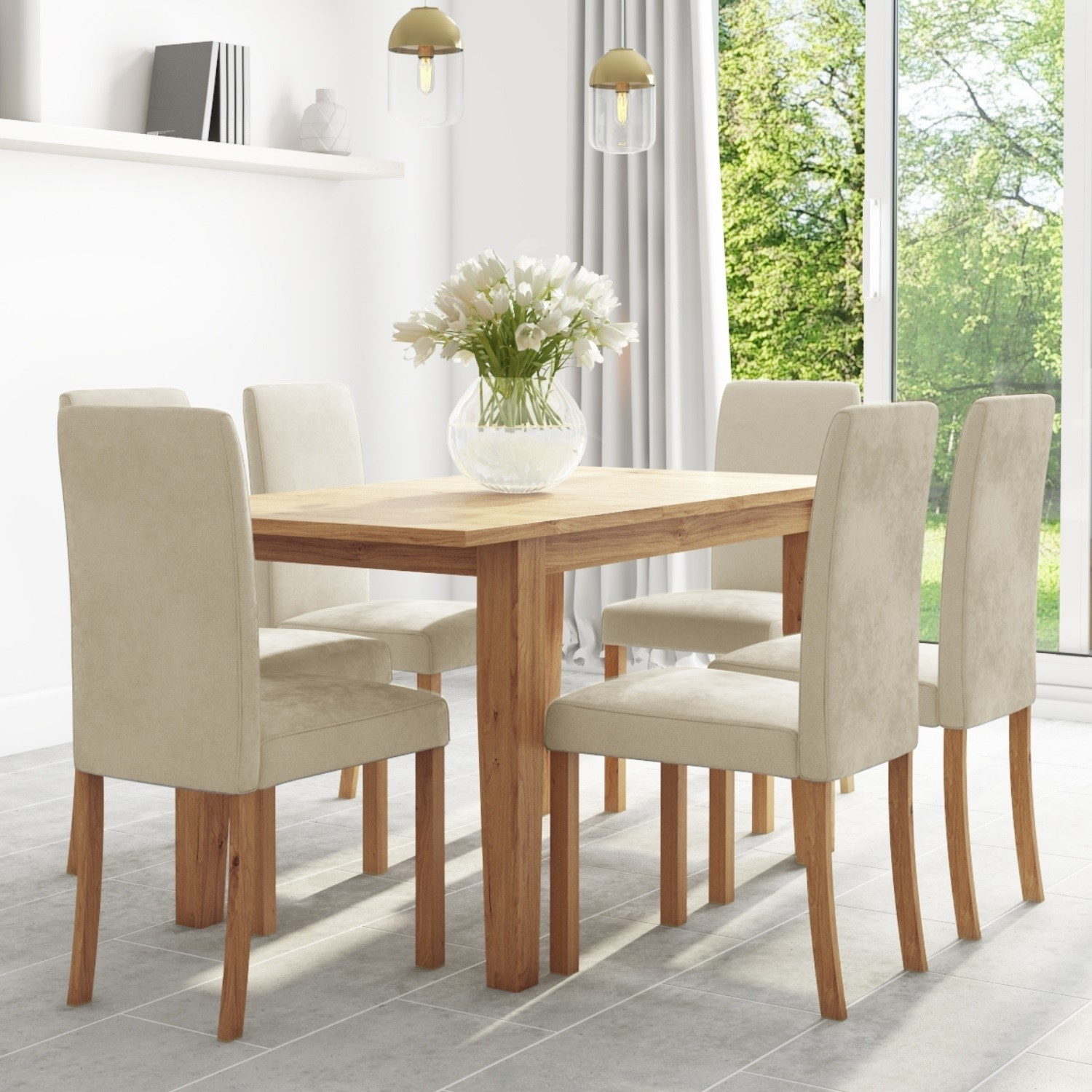 Oak Extendable Dining Table 6 Cream Velvet Chairs New Haven Furniture123