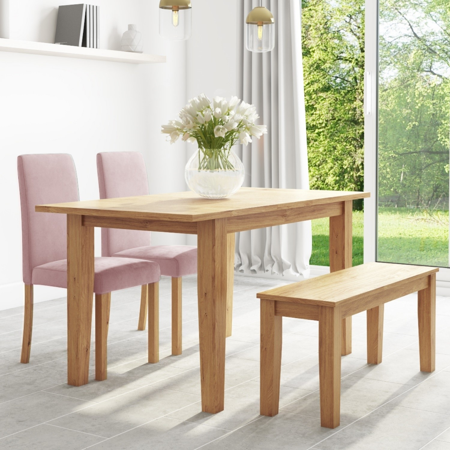 Oak Extendable Dining Table with 2 Pink Velvet Chairs & 1 Bench - New Haven