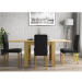 New Town Extendable Oak Effect Dining Set with 4 Charcoal Grey Fabric Chairs