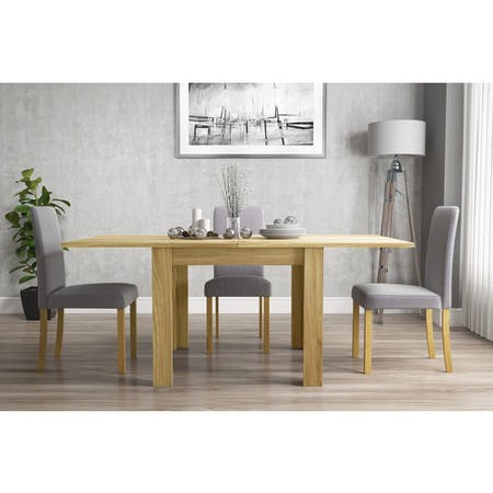 New Town Extendable Oak Dining Table with 2 x Pairs of New Haven Grey Fabric Dining Chairs