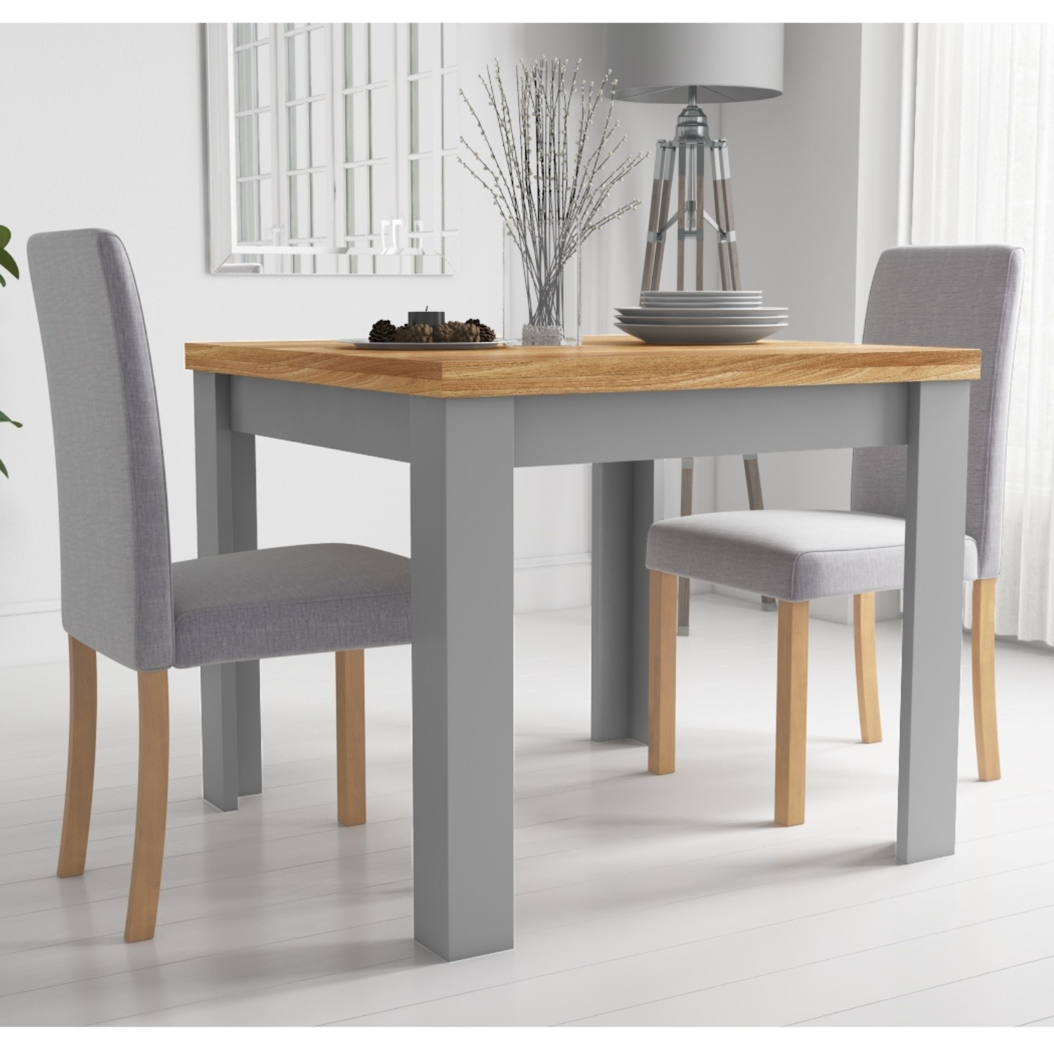 New Town Extendable Grey/Natural Dining Set with 3 Chairs in Grey Fabric