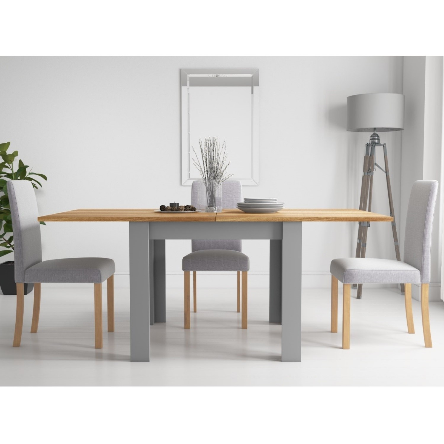 Picture of: New Town Flip Top Grey Natural Dining Set With 4 Chairs In Grey Fabric Furniture123