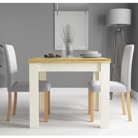 New Town Two Tone Extendable Dining Set with 2 Grey Fabric Chairs