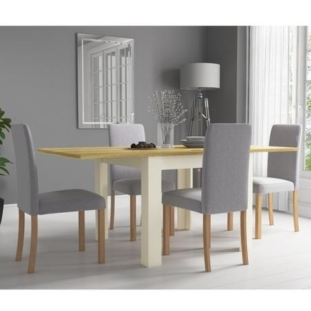 New Town Two Tone Flip Top Dining Set with 4 Grey Fabric Chairs