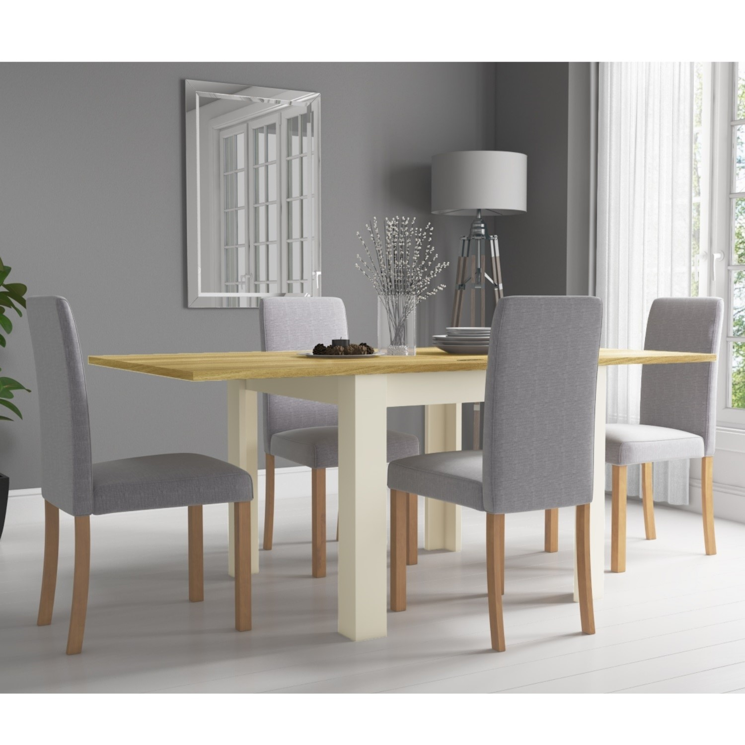 Picture of: Cream Flip Top Dining Table With Oak Top 4 Grey Chairs New Town Furniture123