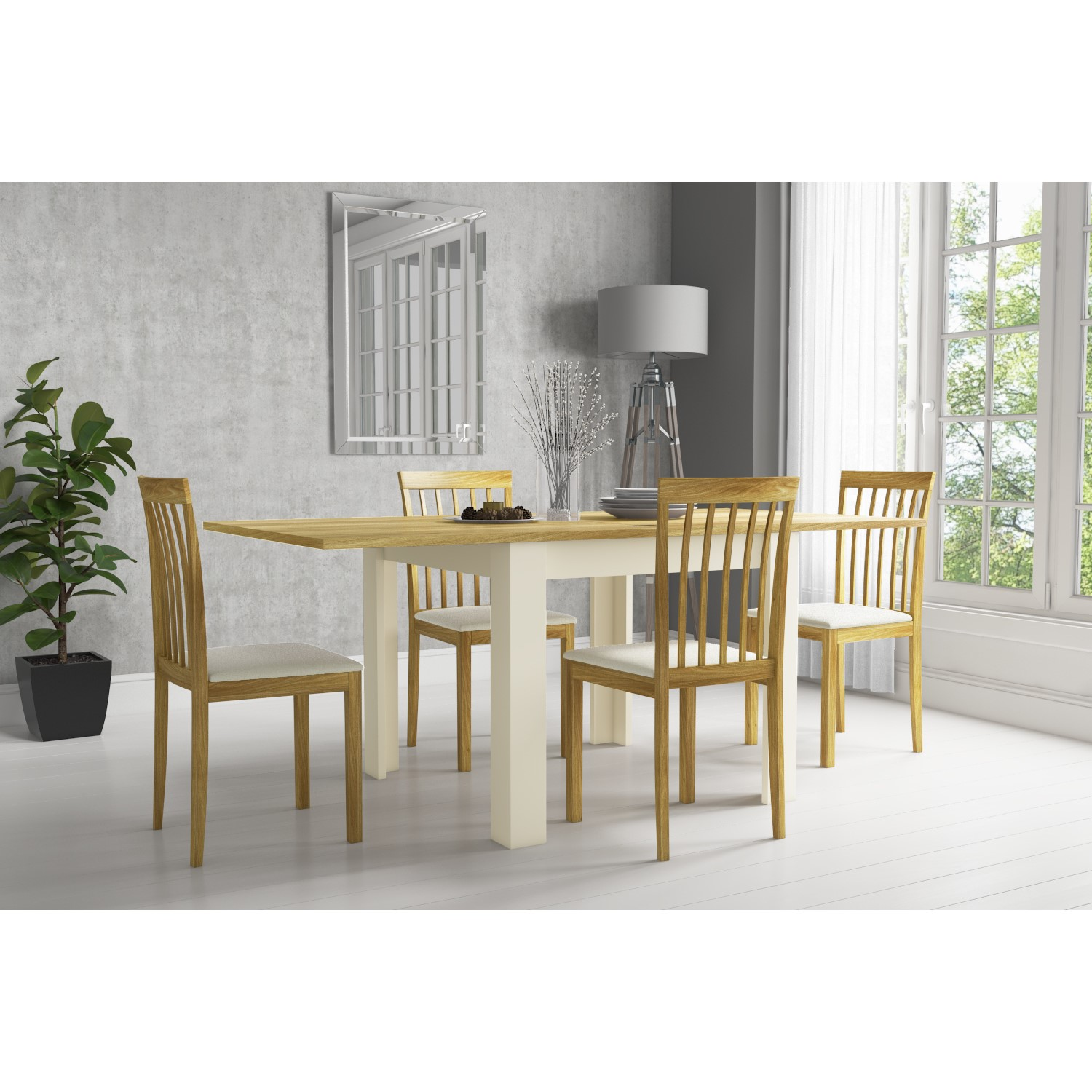 Picture of: Cream Flip Top Dining Table With Oak Top 4 Dining Chairs New Town Furniture123