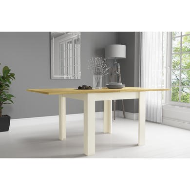 GRADE A1 - New Town Two Tone Flip Top 4 Seater Dining Table in Cream and Oak