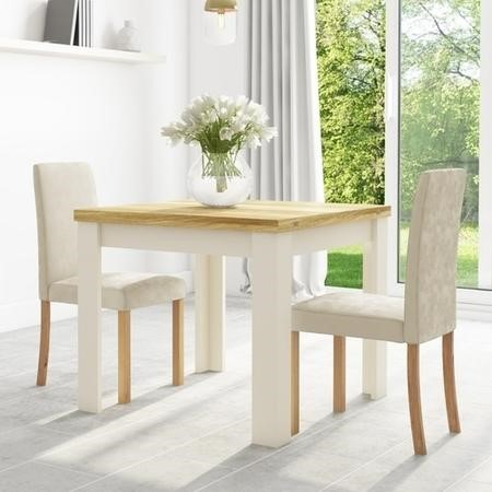 Cream & Oak Flip Top Dining Table & 2 Cream Velvet Chairs - New Haven