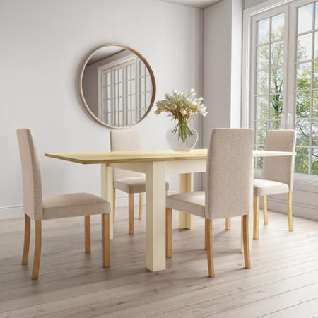 New Town Farmhouse Flip Top Cream & Oak Dining Table with 4 Dining Chairs