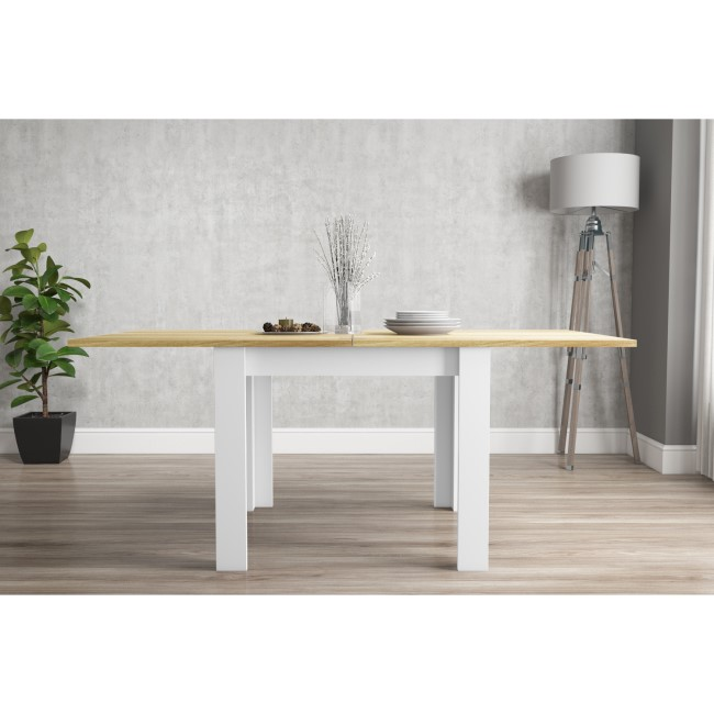 New Town Farmhouse Flip Top Cream & Oak Dining Table - Seats 4