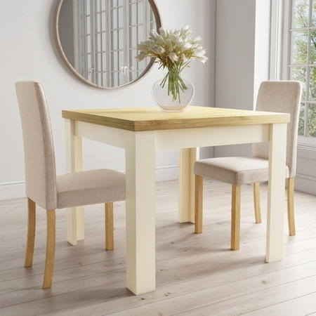 New Town Farmhouse Flip Top Cream & Oak Dining Table with 2 Dining Chairs