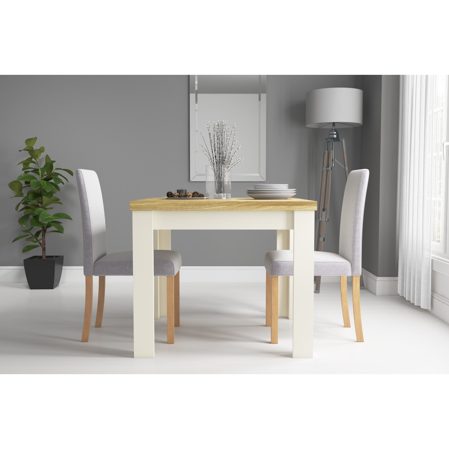 Picture of: New Town Farmhouse Flip Top Cream Oak Dining Table Seats 4 Furniture123
