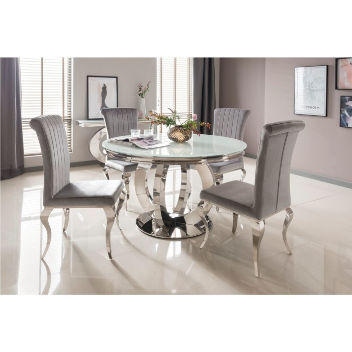 Orion Round Dining Mirrored Table with 4 Velvet Dining ...