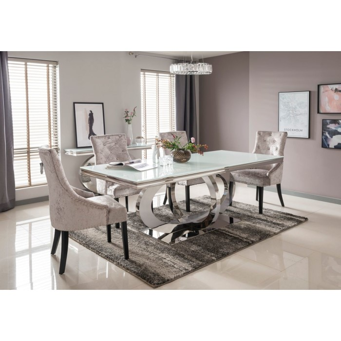 Orion Mirrored Rectangle 180cm Dining Table With 4 Crushed