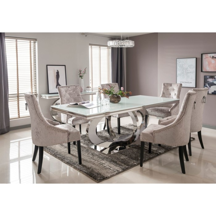 Orion White Mirrored Dining Table 220cm with 6 Crushed ...