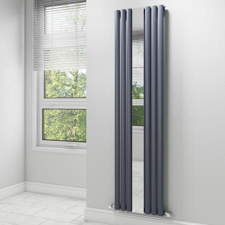 Anthracite Vertical Mirrored Radiator Living Room - 1800 x 499mm