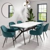 Rochelle White High Gloss Dining Table with 6 Teal Blue Velvet Dining Tub Chairs