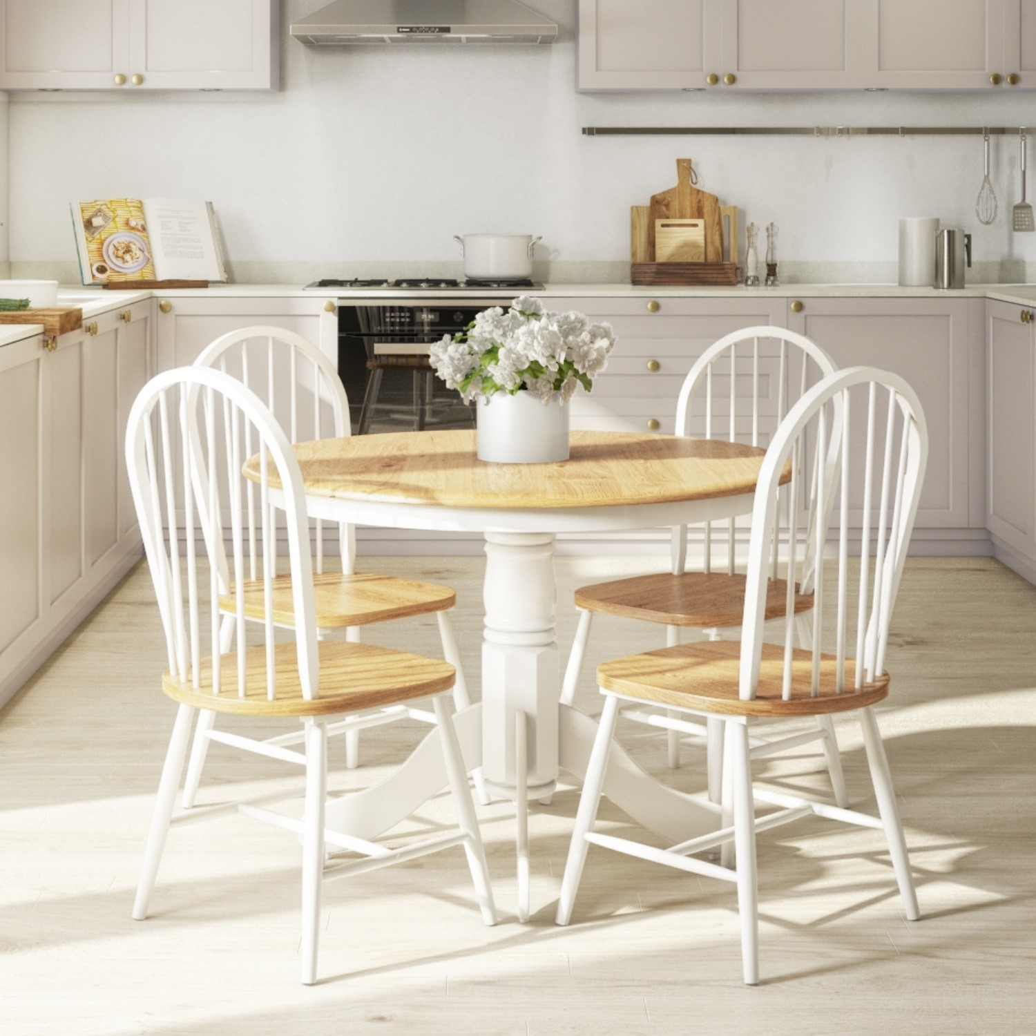 Small Round Dining Table with 4 Chairs in Wood & White - Rho