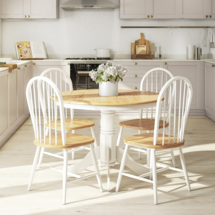 Kitchen Island With 4 Chairs: Rhode Island Natural & White Round Dining Table And 4