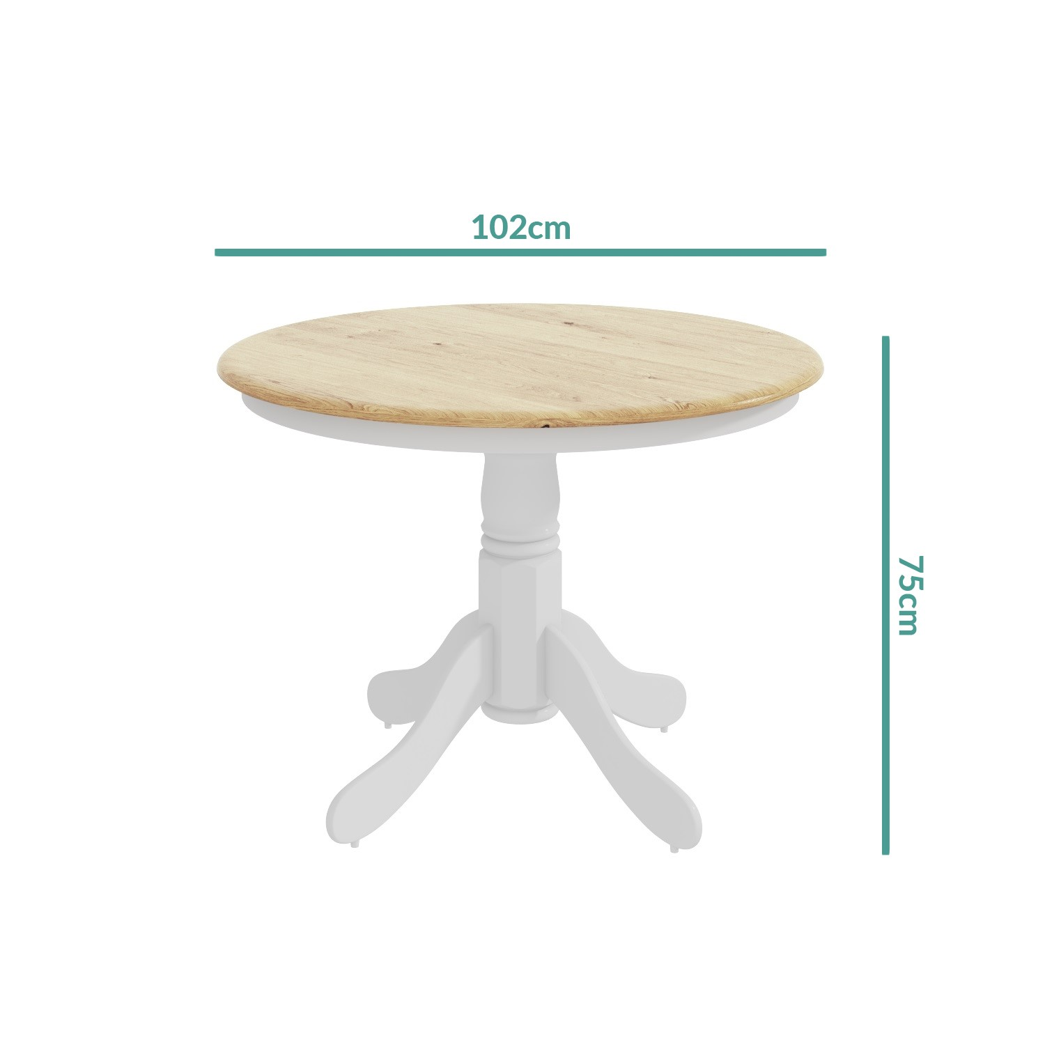 Rhode Island Natural White Round Dining Table And 4 Chairs Set