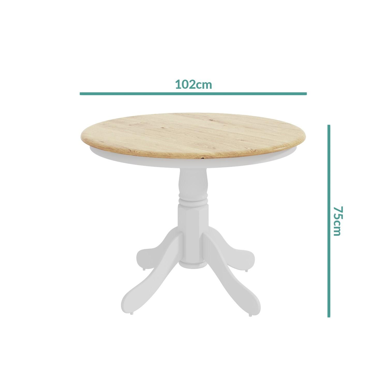 Rhode Island Natural u0026&; White Round Dining Table and 4 Chairs Set & Rhode Island Natural u0026 White Round Dining Table and 4 Chairs Set ...