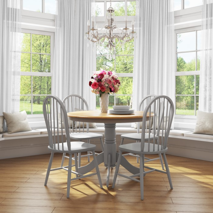 Rhode island round dining set with grey chairs
