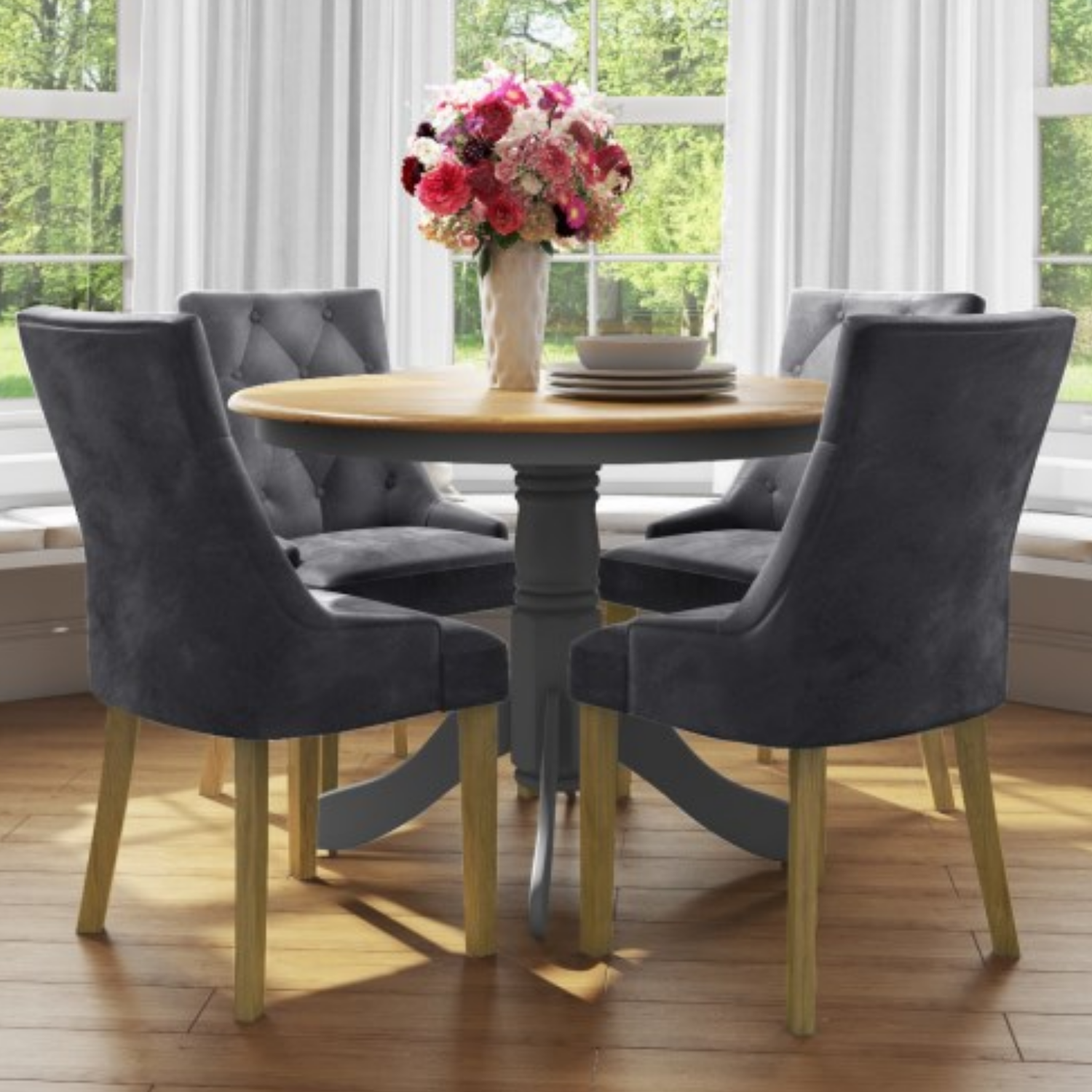 Small Round Dining Table With 4 Velvet Chairs In Grey With Oak Finish Rhode Island Kaylee Furniture123