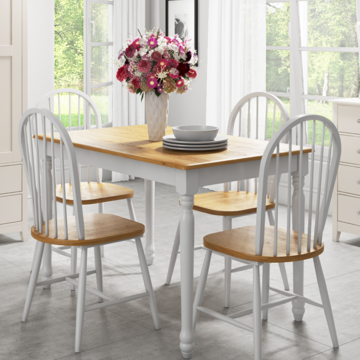 Rhode island solid wood rectangle dining set and chairs