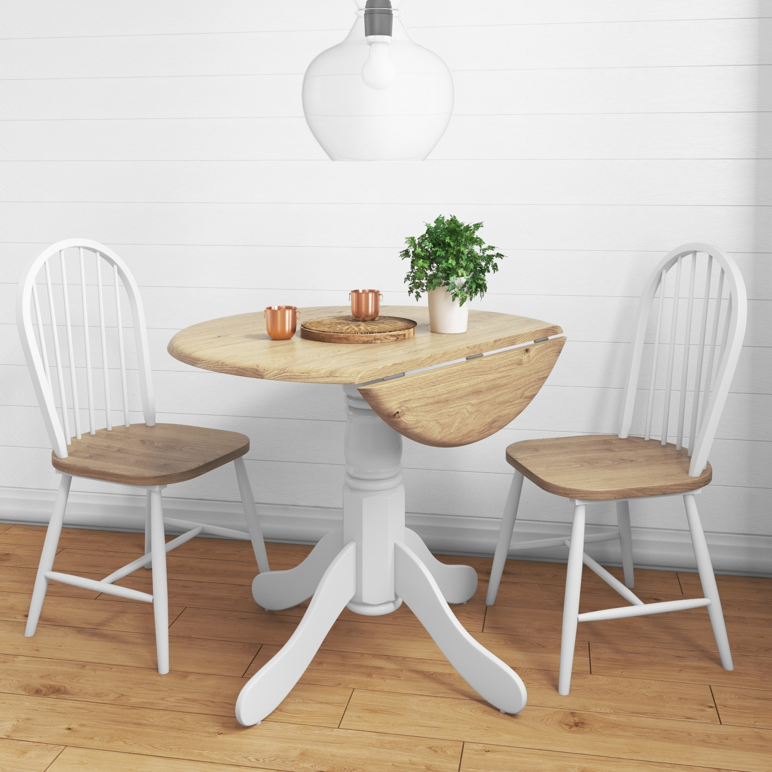 Rhode Island Round Drop Leaf Table + 2 Windsor Chairs BUN/RHD008/69398 & Rhode Island Round Drop Leaf Table + 2 Windsor Chairs | Furniture123