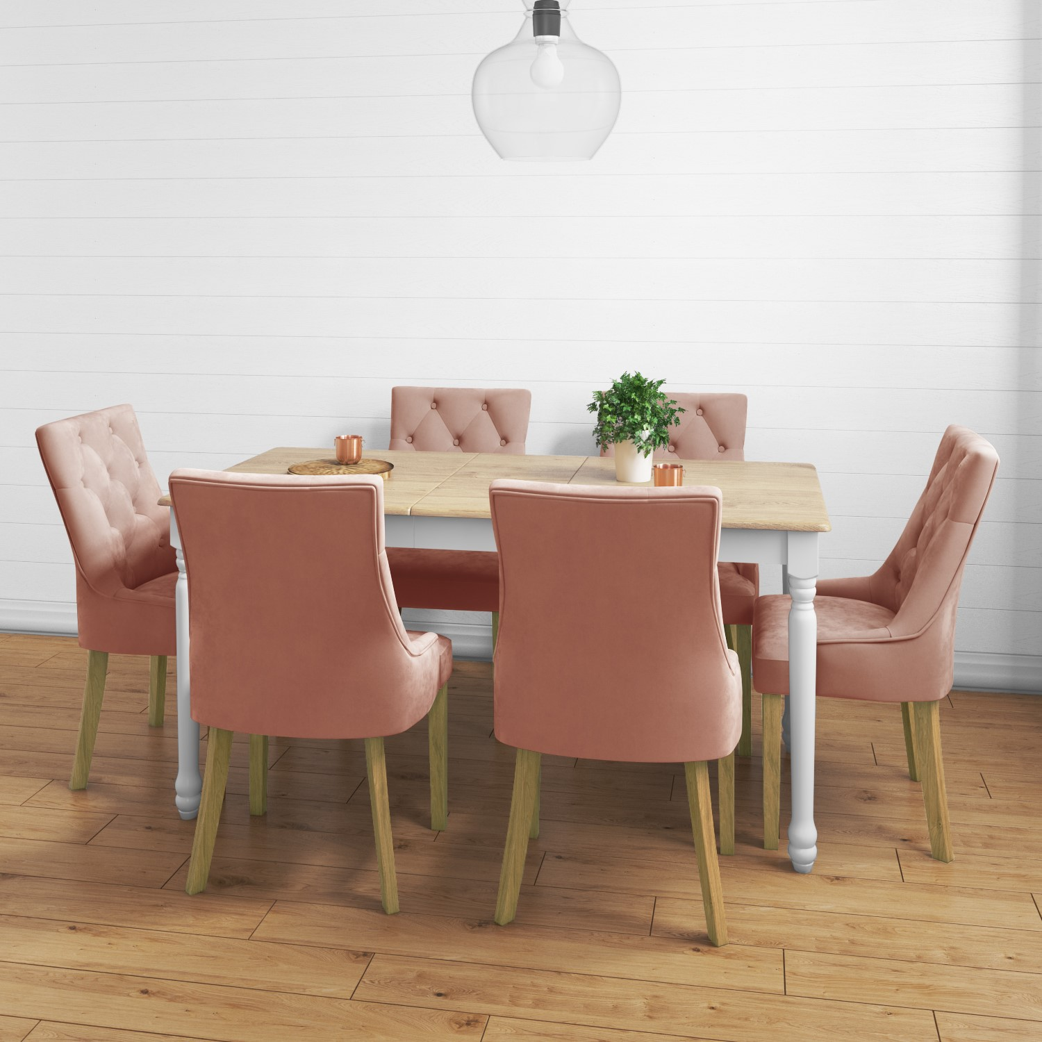 Picture of: Large Extendable Dining Table In Wood White With 6 Velvet Chairs In Pink Rhode Island Kaylee Furniture123