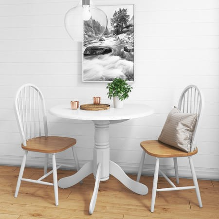 Rhode Island Round White Dining Table with 2 Windsor Chairs