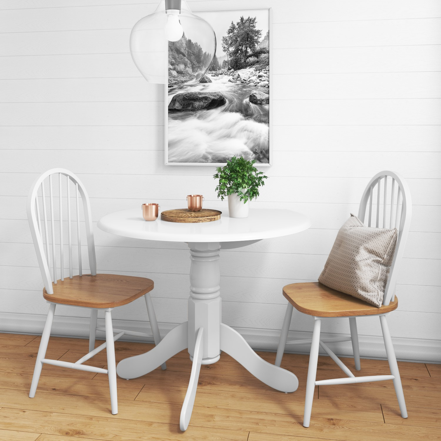 Small Round Dining Table in White with 2 Chairs - Rhode Isla