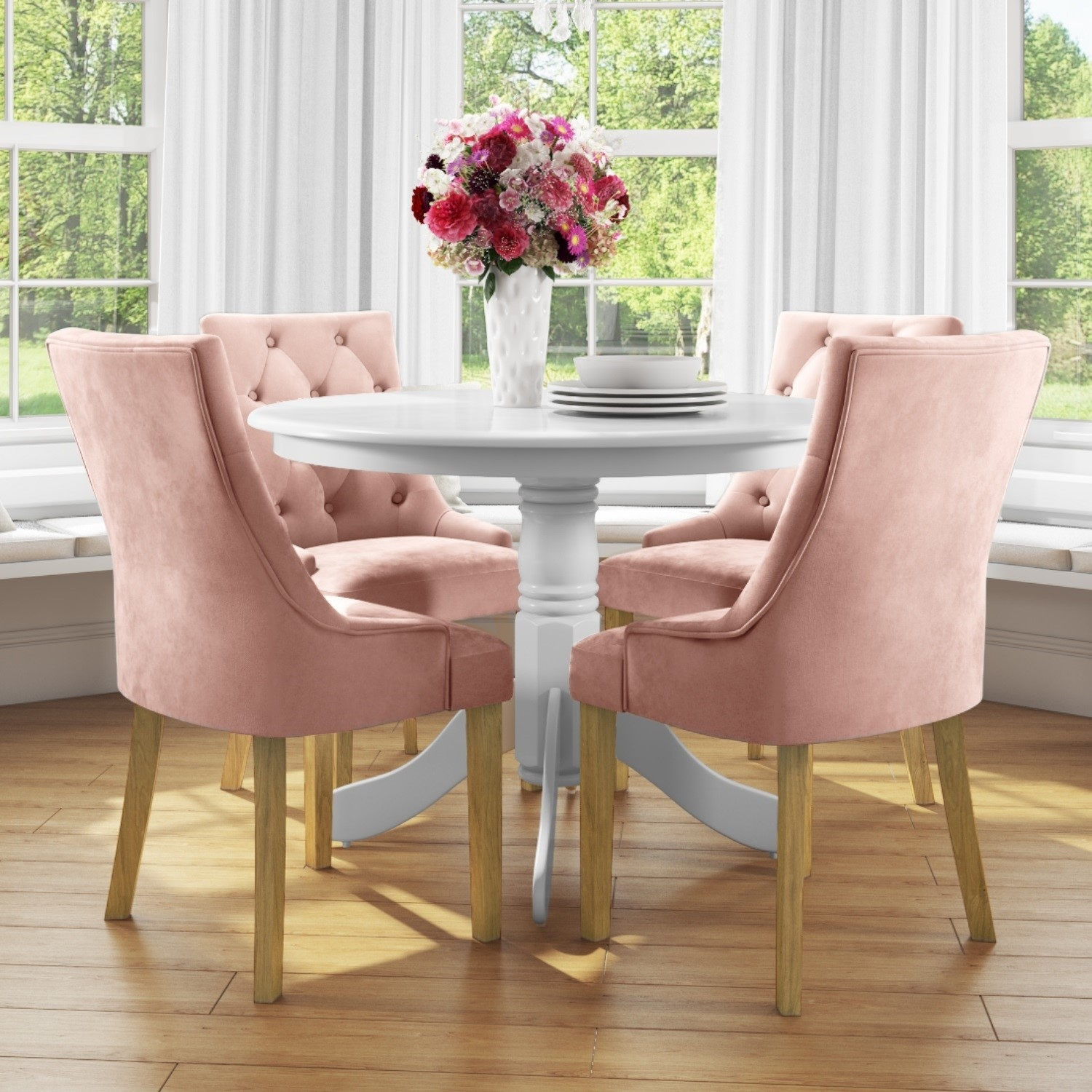 Small Round Dining Table In White With 4 Velvet Chairs In Pink Rhode Island Kaylee Furniture123