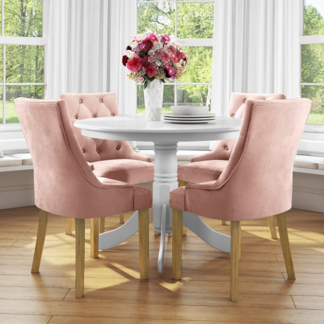 Small Round Dining Table in White with 4 Velvet Chairs in Pink - Rhode Island & Kaylee