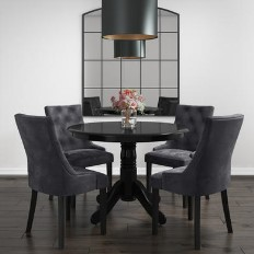 8f5e1d0a74c8 Rhode Island Round Dining Table with 4 Grey Velvet Chairs