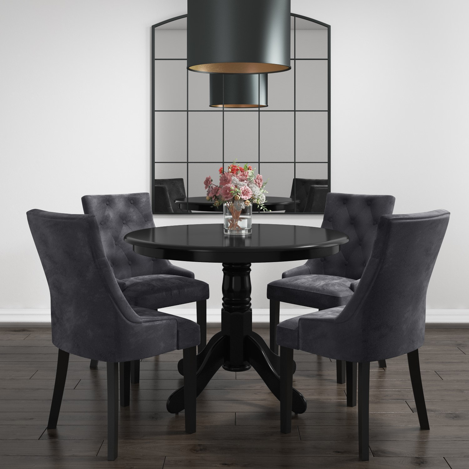 Small Round Dining Table In Black With 4 Velvet Chairs In Grey Rhode Island Kaylee Furniture123
