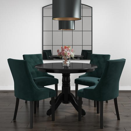 Small Round Dining Table in Black with 4 Velvet Chairs in Green- Rhode Island & Kaylee