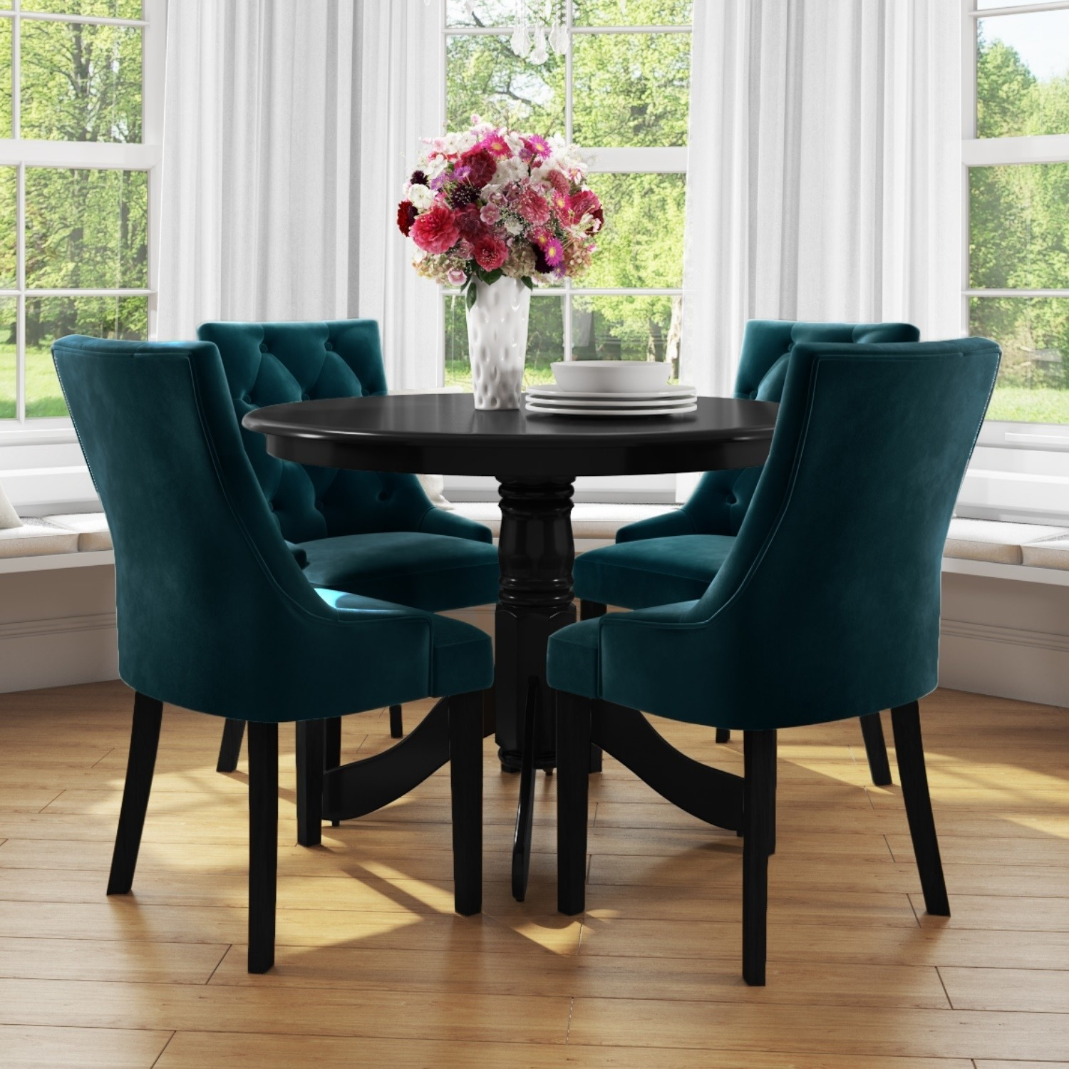 Small Round Dining Table In Black With 4 Teal Blue Velvet Chairs Rhode Island Kaylee Furniture123