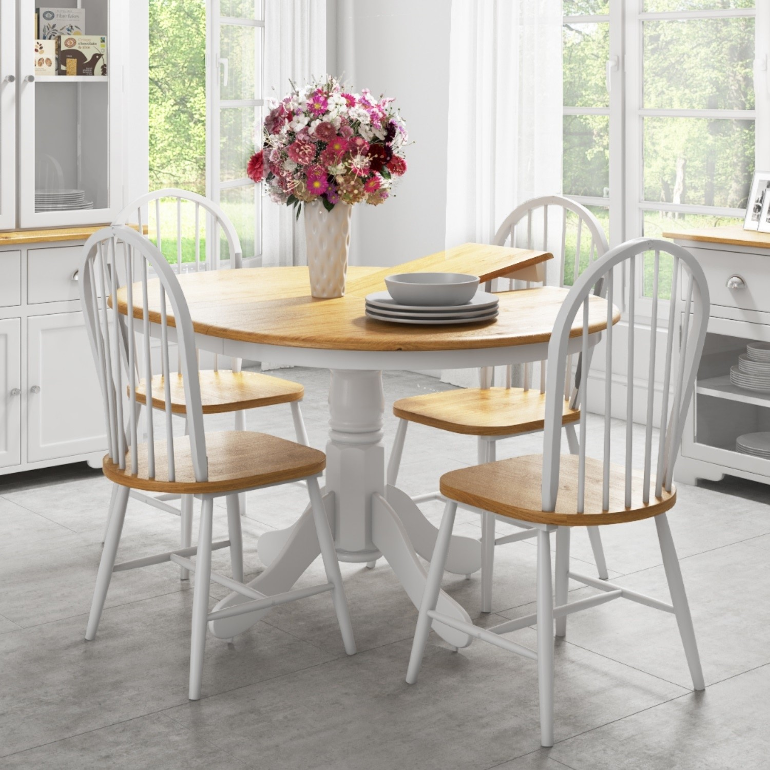 Round Extendable Dining Set with 4 Chairs in Oak & White - Rhode Island