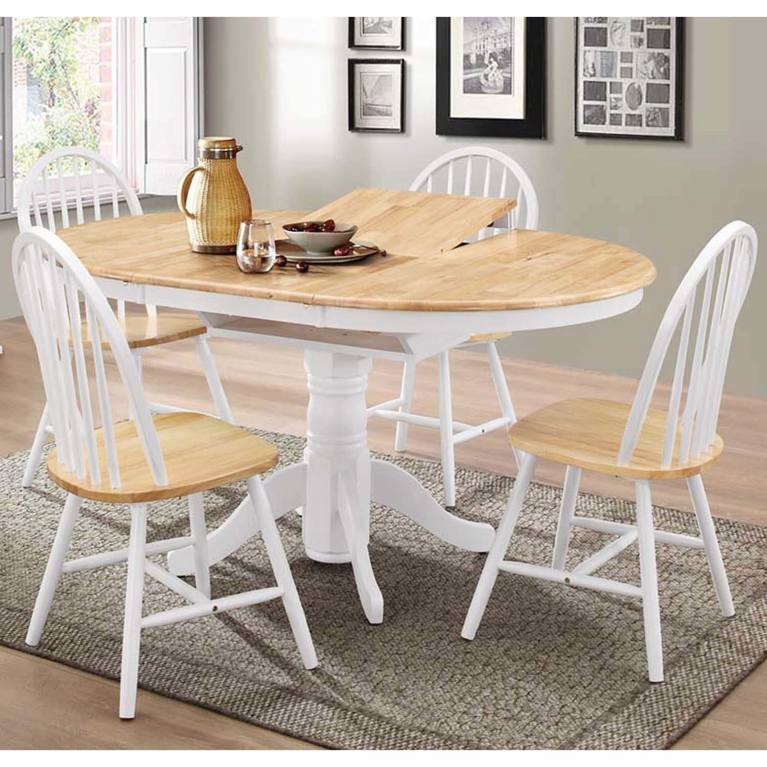 Round Extendable Dining Set With 4 Chairs In Oak White Rhode Island Furniture123