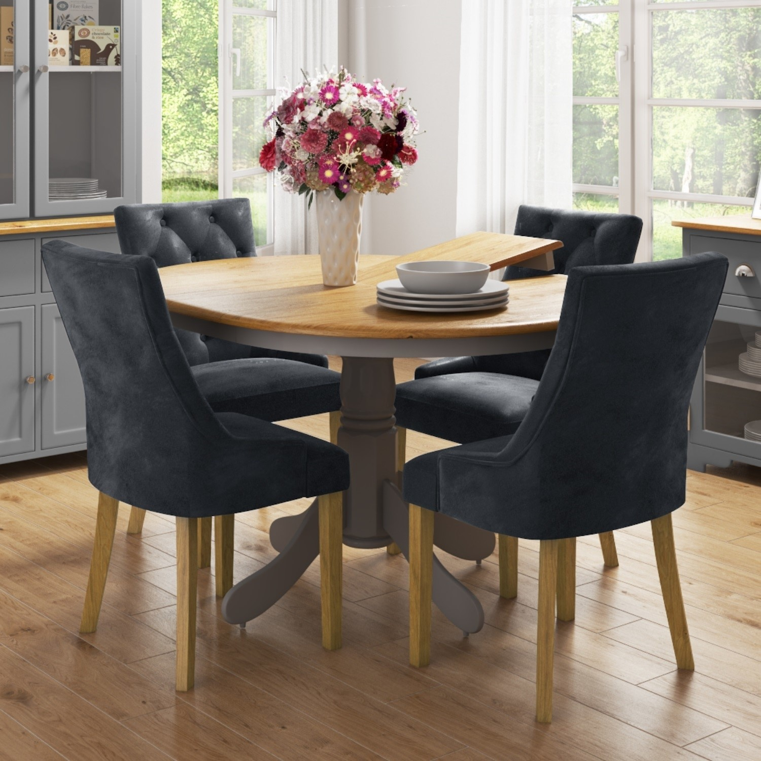 Picture of: Round Extendable Dining Table With 4 Velvet Chairs In Grey Oak Finish Rhode Island Kaylee Furniture123